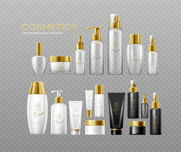 Набор шаблонов белых, черных и стеклянных косметических бутылок с золотыми крышками, изолированных на темном фоне. реальный эффект прозрачности.