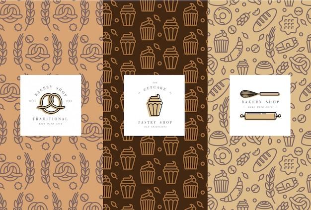 유행 스케치 선형 스타일에서 빵집 포장에 대 한 템플릿 및 요소 집합입니다.