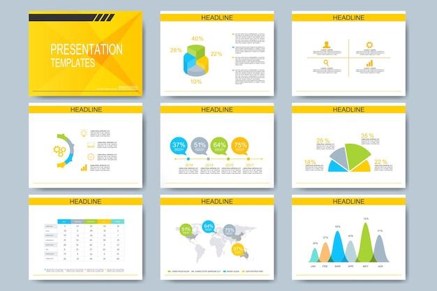 Набор шаблонов для многофункциональных слайдов презентации