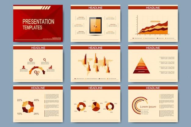 프레젠테이션 슬라이드 용 템플릿 세트. 그래프와 차트가있는 현대적인 비즈니스 디자인
