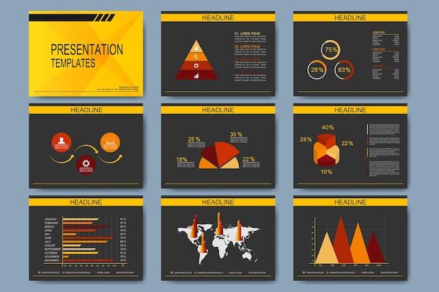 프레젠테이션 슬라이드 용 템플릿 세트입니다. 그래프 및 차트와 함께 현대적인 비즈니스.