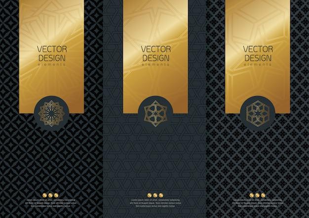 Набор шаблонов упаковки, черные ярлыки и рамки для упаковки для предметов роскоши в модном линейном стиле, баннер, фирменный стиль, брендинг, золотой узор в модном линейном стиле, иллюстрация