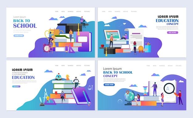 템플릿 웹 페이지 디자인의 집합입니다. 학교 개념으로 돌아가기. 교육, 온라인 교육, 전자 학습 현대 평면 디자인 개념. 웹사이트 및 모바일 웹사이트를 위한 웹 페이지 디자인. 벡터 일러스트 레이 션.