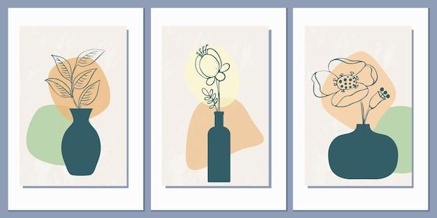 Набор шаблонов с абстрактной композицией простых форм и цветов в вазах