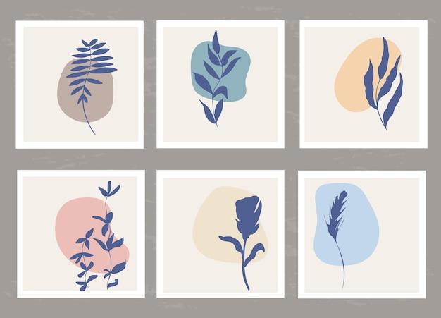 단순한 모양과 천연 식물 요소의 추상적 구성이 있는 템플릿 세트