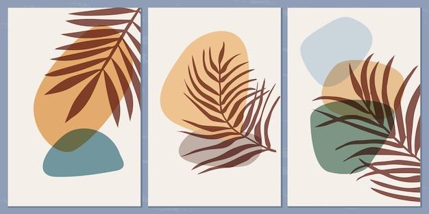Набор шаблонов с абстрактной композицией простых форм и тропических пальмовых листьев