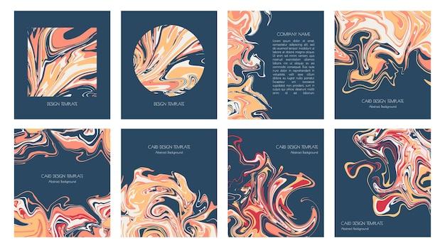 液体大理石またはエポキシ樹脂のテンプレートのセット。流体アート。招待状、表紙、チラシ、名刺、プレゼンテーション用のモダンで明るいデザインカード。現代の背景の抽象絵画。
