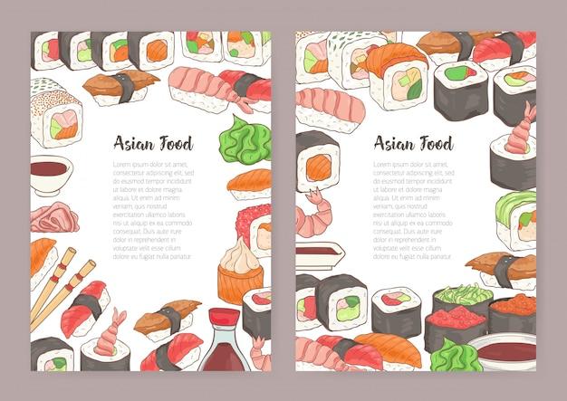 중앙에 텍스트에 대 한 장소를 가진 템플릿 집합 및 다채로운 프레임 초밥, 롤, 간장의 다른 종류로 구성. 메뉴, 전단지, 일식 레스토랑의 광고에 대 한 그림.