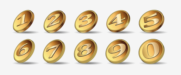 Набор из десяти 3d золотых монет. медальоны. 1,2,3,4,5,6,7,8,9,10. значок. точка. векторные иллюстрации, изолированные на белом фоне. редактируемые элементы и блики. игра в казино. богатый