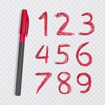 1부터 9까지 10 개의 숫자 세트, 빨간 펜으로 그린 숫자