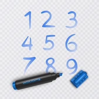 0에서 9까지 10 개의 숫자, 파란색 마커로 그려진 숫자, 그림