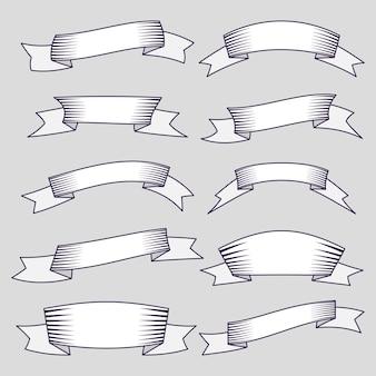 ウェブデザインのための10個のリボンとバナーのセット。白い背景で隔離の素晴らしいデザイン要素。ベクトルイラスト。