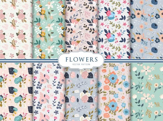 Набор из десяти бесшовных цветочных узоров