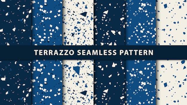 テラゾ和風のシームレスパターンのセットです。プレミアムベクトル