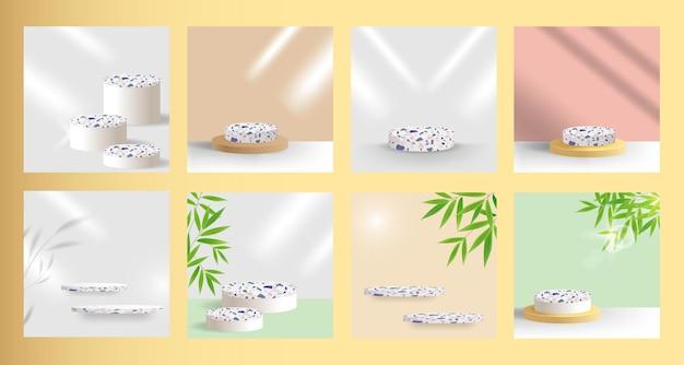 그림자 오버레이와 대나무 잎이 있는 제품 디스플레이용 테라조 연단 무대 플랫폼 세트
