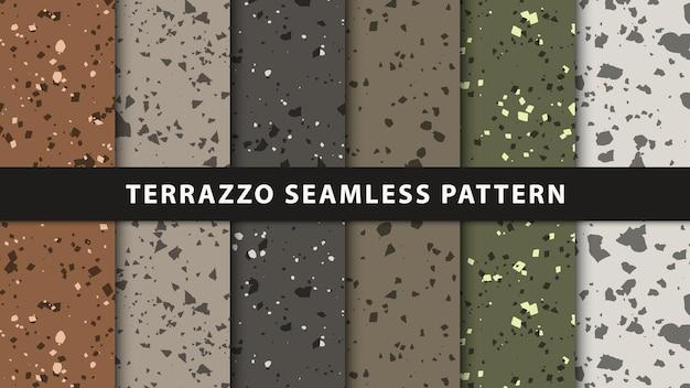 テラゾシームレスパターンのセット。プレミアムベクトル