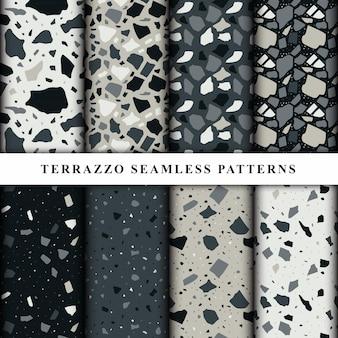 テラゾシームレスパターンのセット。テラゾ床パターン。