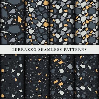 테라 초 완벽 한 패턴의 집합입니다. Terrazzo 바닥 패턴. 프리미엄 벡터