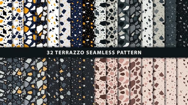 テラゾシームレスパターンのセット