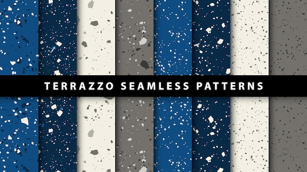 テラゾスタイルのシームレスなパターンのセット。プレミアムベクトル