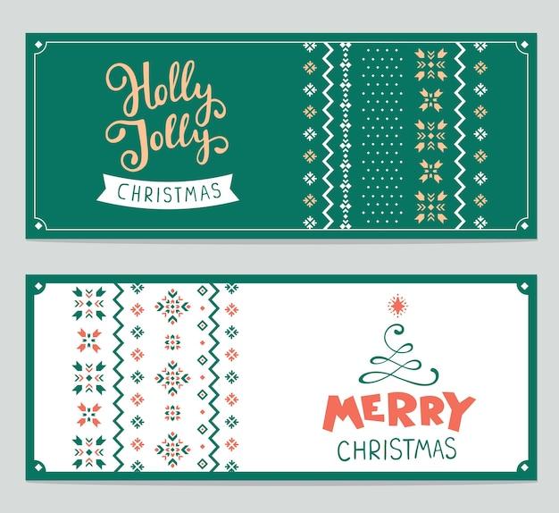 テキストメリークリスマスと編み物パターンのセット