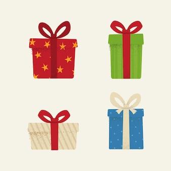 Набор текстурированных иконок подарочных коробок