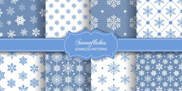크리스마스 또는 겨울 원활한 패턴의 눈송이 컬렉션이 있는 텍스처 세트