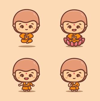 瞑想に座っている仏教の僧侶としてのタイの男の子のセット。かわいい漫画のベクトルイラスト。