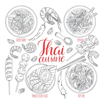 手描きのタイ料理のセット