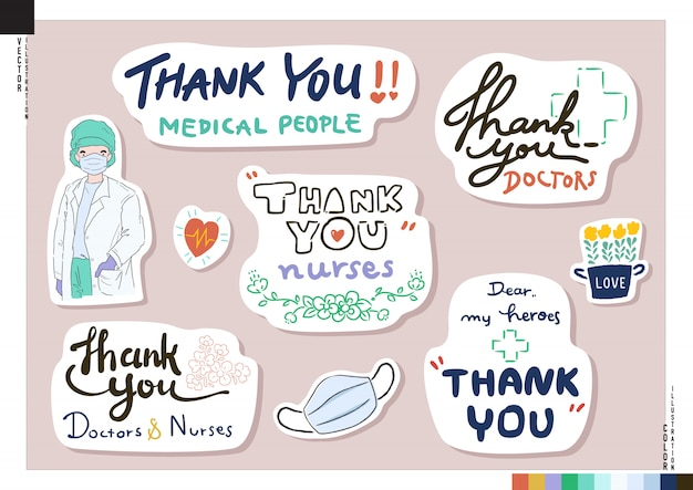 ありがとうステッカーのセット。コロナウイルスとすべての病気と戦った医師、看護師、医療チーム、そしてすべてのヘルスケアヒーローに感謝します。 web、印刷、スクラップブック、カードなどのイラスト。