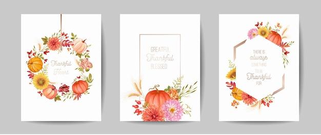 Набор приветствие дня благодарения, пригласительный билет, флаер, баннер, шаблон плаката. осенняя тыква, цветок, листья, цветочные элементы дизайна. векторная иллюстрация