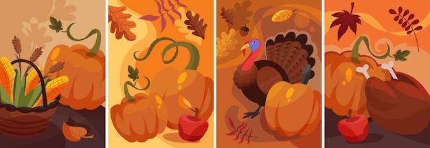 만화 스타일의 추수 감사절 포스터 세트입니다. 다양한 플래카드 디자인.