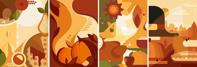 평면 스타일의 추수 감사절 포스터 세트입니다. 다양한 엽서 디자인.