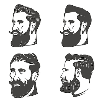 白い背景の上のひげを生やした男の頭のセット。理髪店のエンブレム、バッジ、記号、ブランドマークの要素。