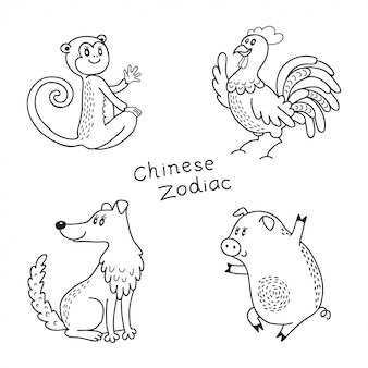 Набор китайских знаков зодиака: обезьяна, петух, собака, свинья