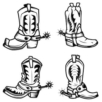 カウボーイブーツイラストのセットです。ロゴ、ラベル、エンブレム、記号、バッジの要素。図