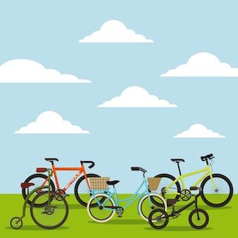 Набор различных велосипедов в ландшафте