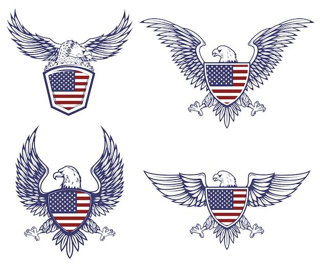 アメリカの旗の背景にワシのエンブレムのセットです。ロゴ、ラベル、エンブレム、記号の要素。図
