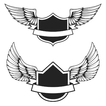 Набор пустых эмблем с крыльями. элементы для, этикетка, значок, знак. иллюстрация