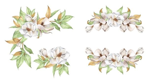 꽃꽂이 세트. 수채화 꽃 그림입니다.