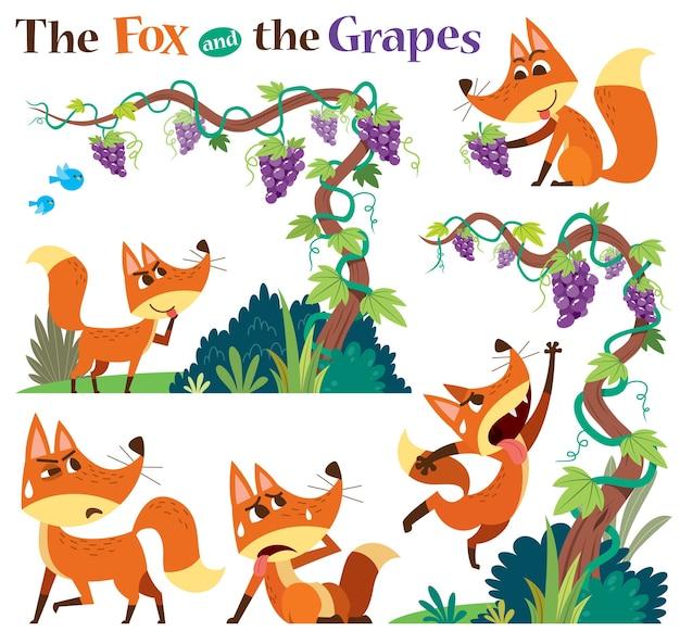 白で隔離の狐とブドウのセット