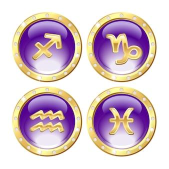 Набор золотых знаков зодиака