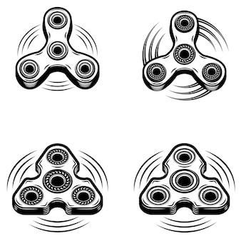 白い背景の上の手スピナーアイコンのセットです。ロゴ、エンブレム、記号、バッジの要素。図