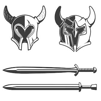 角のあるヘルメットと白い背景の上の剣のセット。ロゴ、ラベル、エンブレム、記号、ブランドマークの要素。