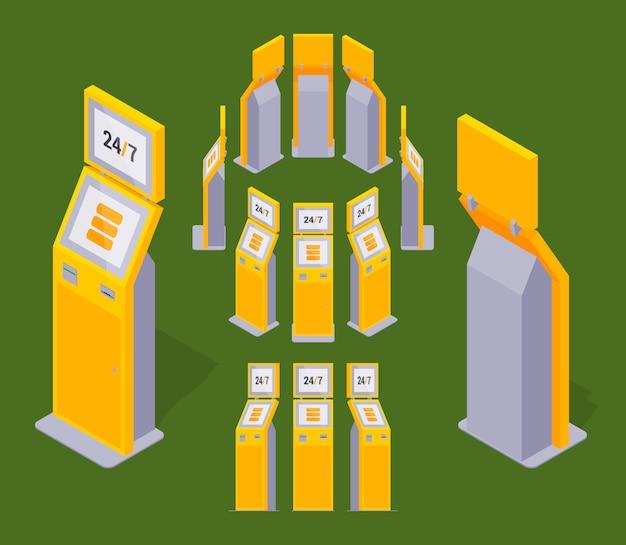 Набор изометрических желтых платежных терминалов