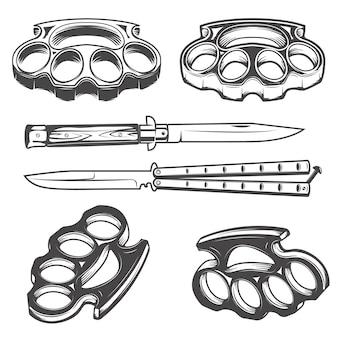 Набор ножей и кастетов.