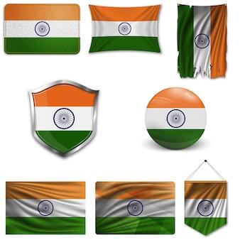 Набор государственного флага индии Premium векторы