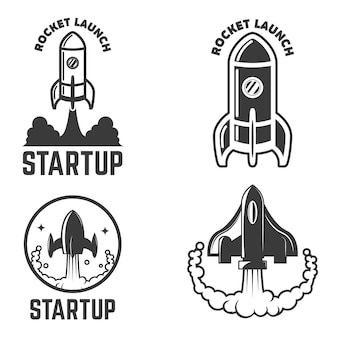 ロケット打ち上げアイコンのセットです。ラベル、エンブレム、記号の要素。図