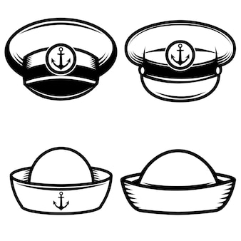 선원 모자 세트 로고, 라벨, 엠 블 럼, 사인, 포스터, 티셔츠 요소. 삽화