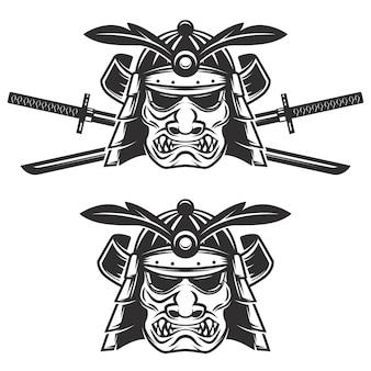 白い背景の上の交差した剣とサムライマスクのセットです。 、ラベル、エンブレム、記号、ブランドマークの要素。図。